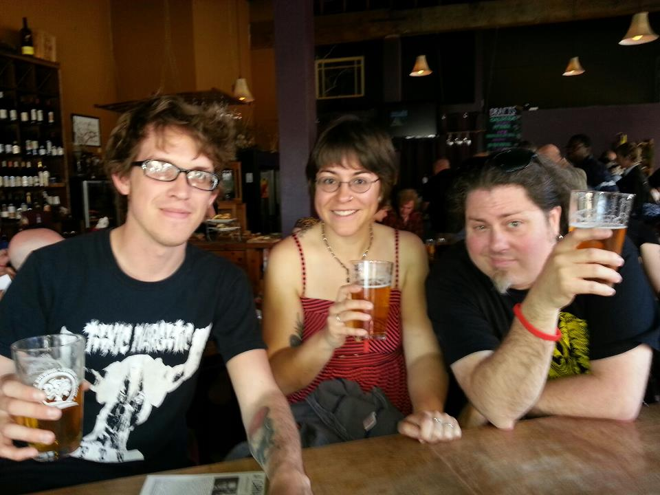 the first of many beers, at the VIP event (with Cameron Pierce and Ross Lockhart)